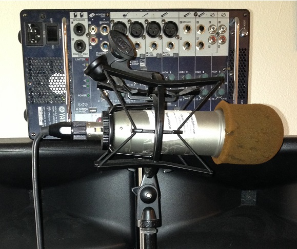 microphone, audio mixer and speakers